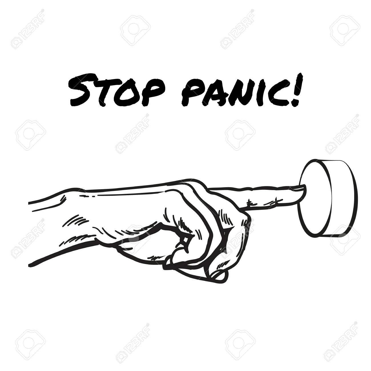 Hand Pointing On Button Symbol Stop Panic Symbol Stop Excitement