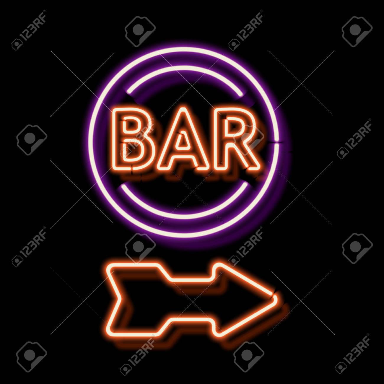 Retro neon sign with the word bar vintage electric arrow symbol retro neon sign with the word bar vintage electric arrow symbol burning a pointer buycottarizona Choice Image