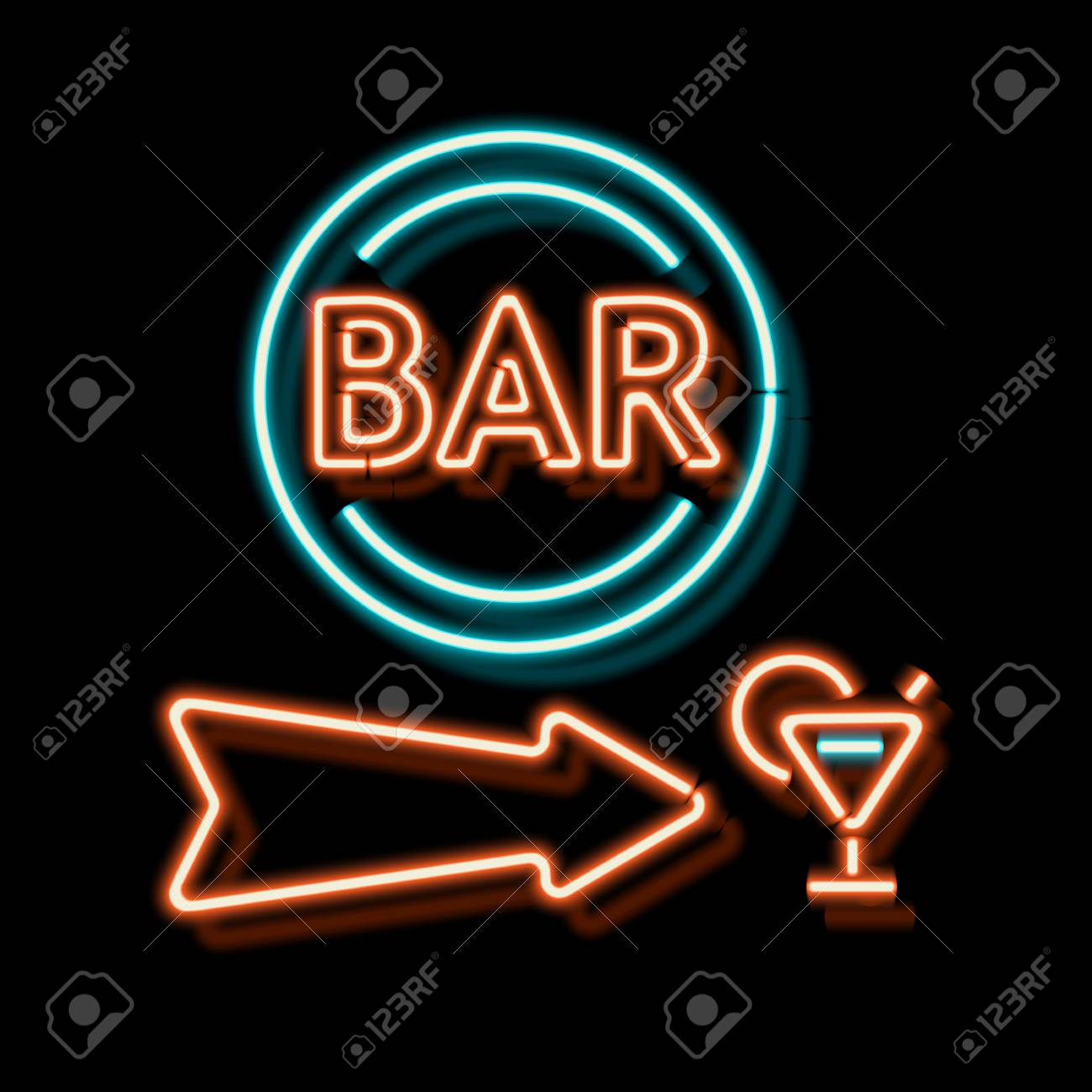 Retro neon sign with the word bar vintage electric arrow symbol retro neon sign with the word bar vintage electric arrow symbol burning a pointer buycottarizona Images