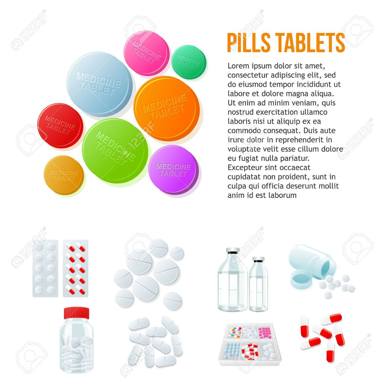 Large Round Pills Different Pills And White And Color On A White