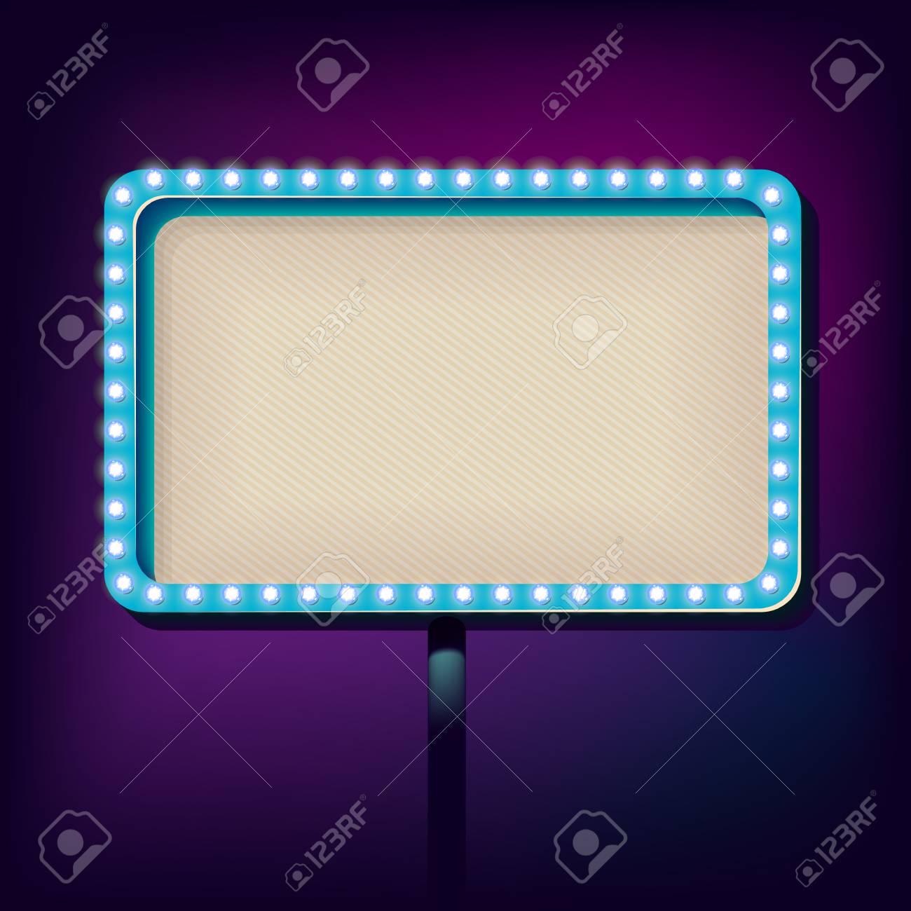 Volume Billboard Für Das Schreiben. Rahmen Mit Neonlichtern Werbung ...