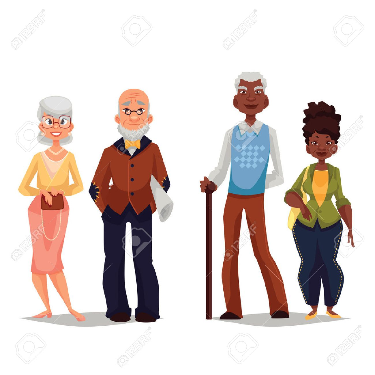 Couples elderly, old black man and an old black woman, grown old married couple, vector cartoon illustration of a set of people on a white background, a great age - 55496883