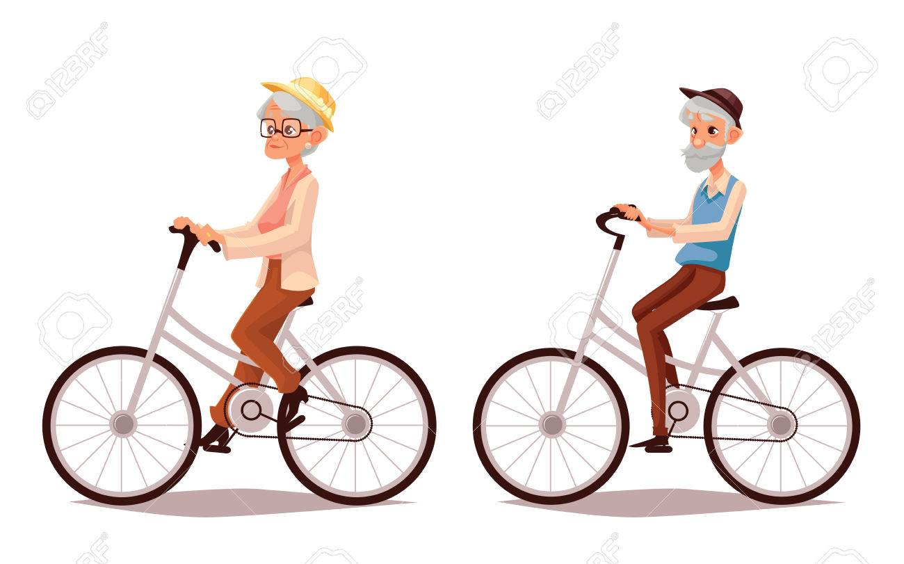 Mature Couple Riding Bikes, Cartoon Illustration Of Two Old People ...