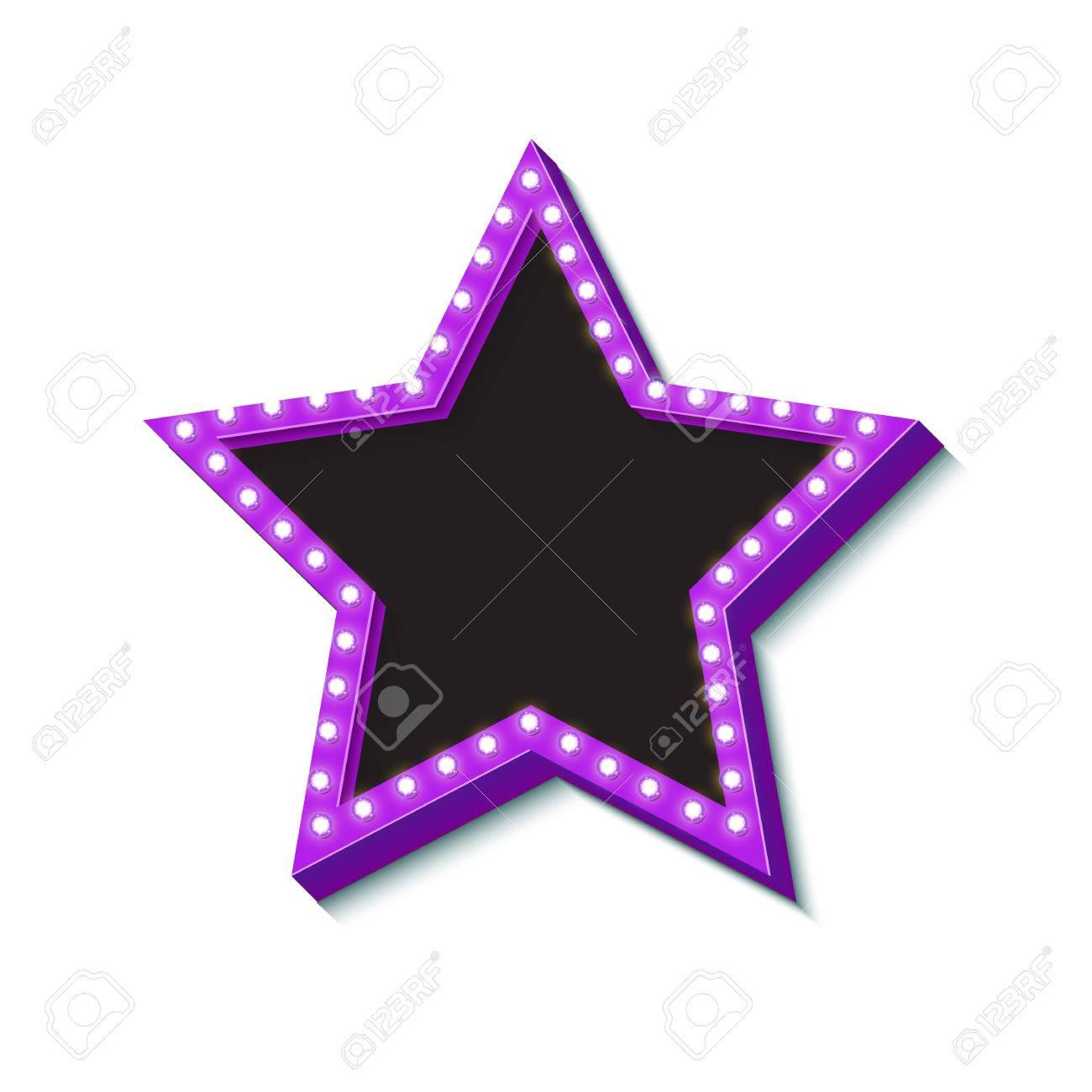 Retro Neon-Sterne Mit Lichtern. Vintage-Symbol Für Einen Stern ...