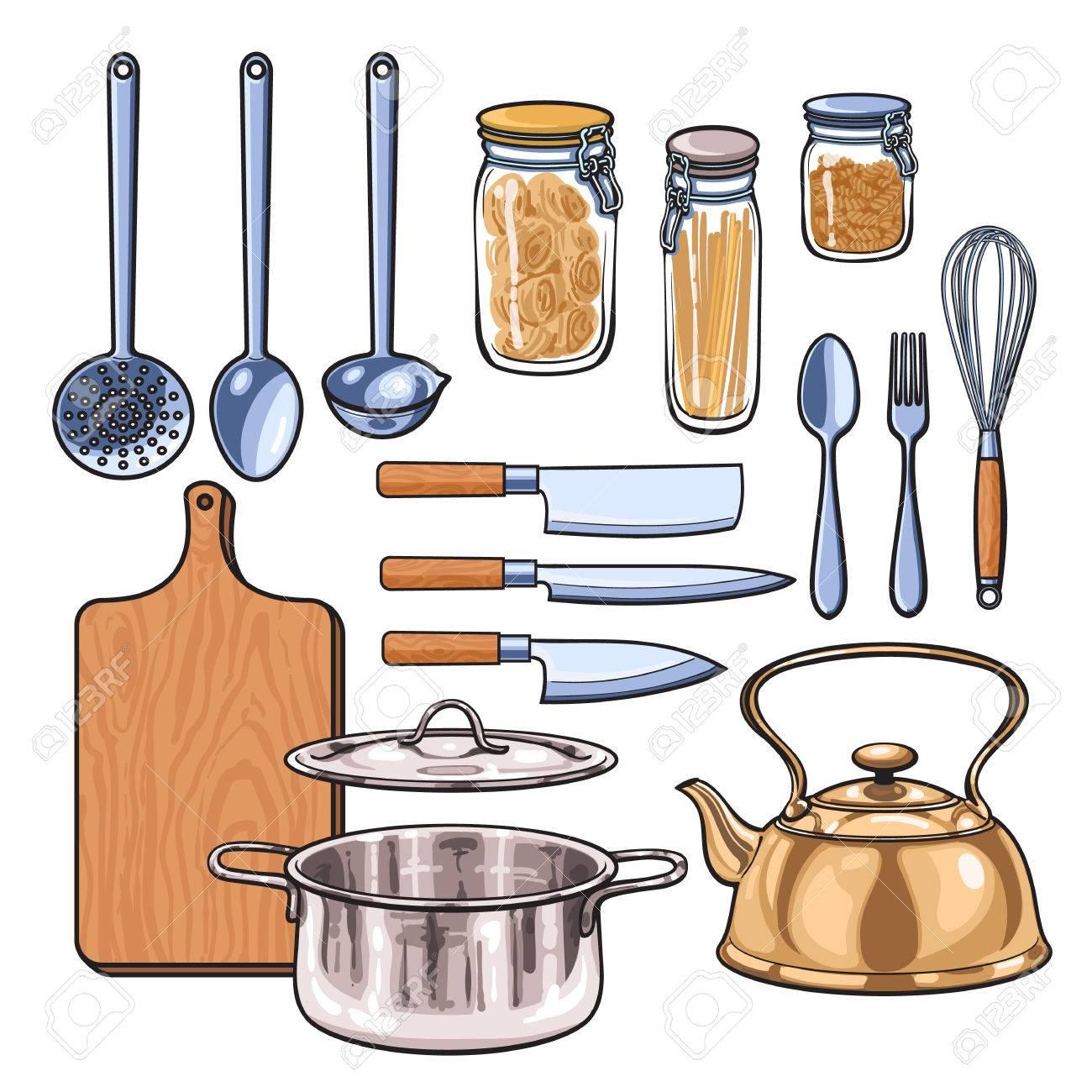 Dibujos Utensilios De Cocina | Utensilios De Cocina Dibujo Vectorial Dibujado A Mano Articulos