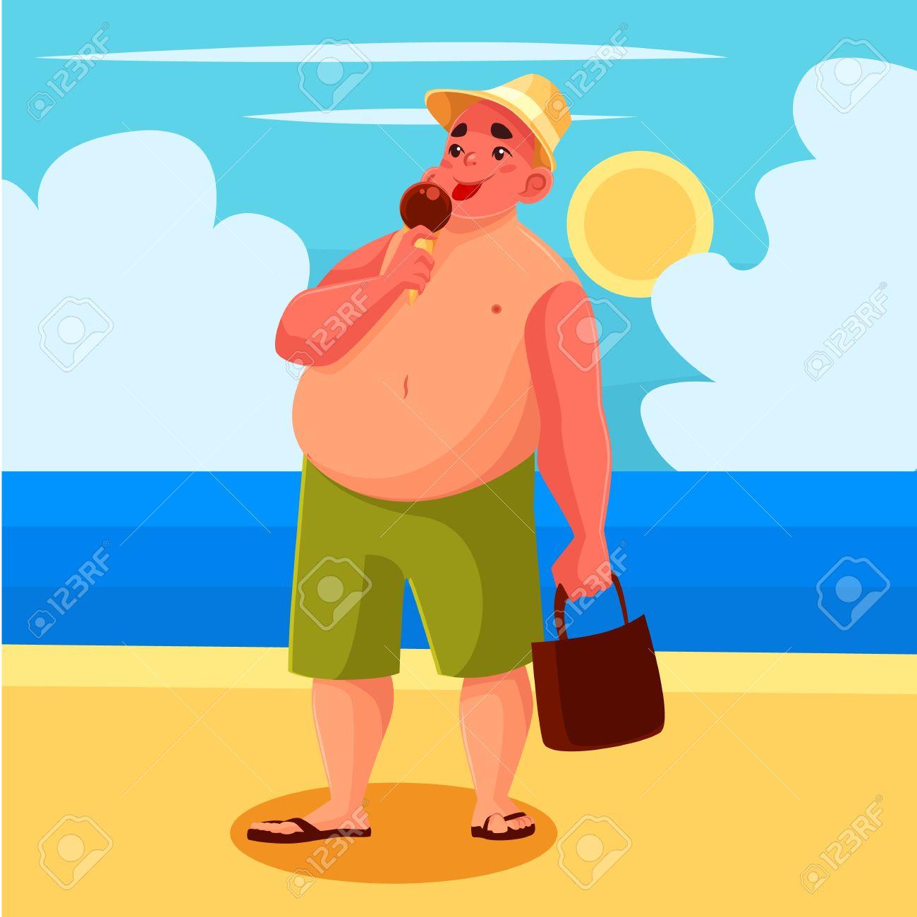Hombre Gordo Que Come El Helado En La Playa De Dibujos Animados Ilustración Vectorial De Historietas Un Hombre Tiene Un Helado De Dulce En La Playa