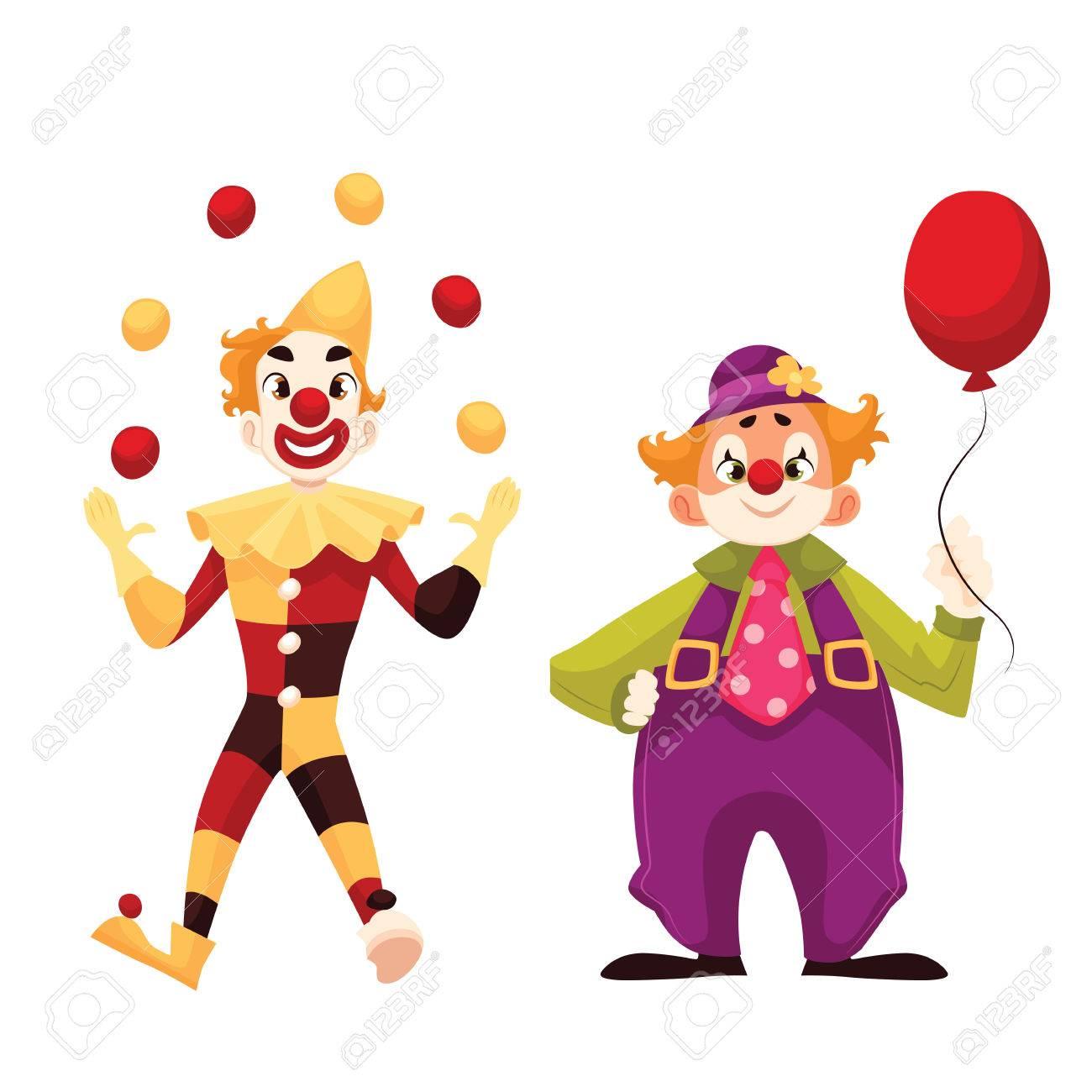 Zwei Fröhliche Clown Auf Einen Urlaub Vektor Cartoon Comic