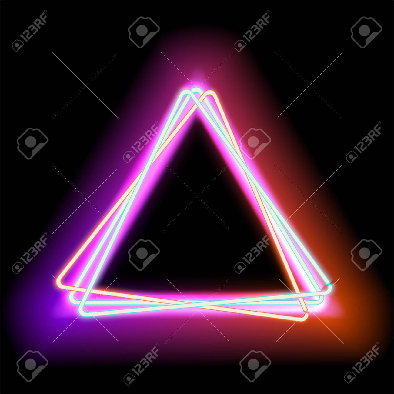 Triángulo De Neón Luz Roja De Neón Marco Eléctrico. Marco De La ...