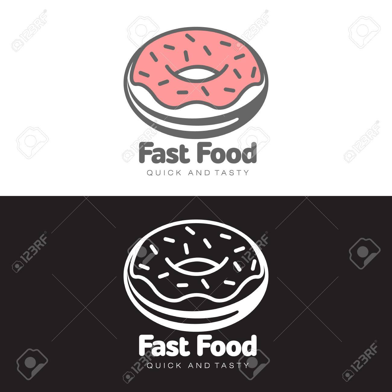 logo sweet donut with icing, vector simple illustration isolated