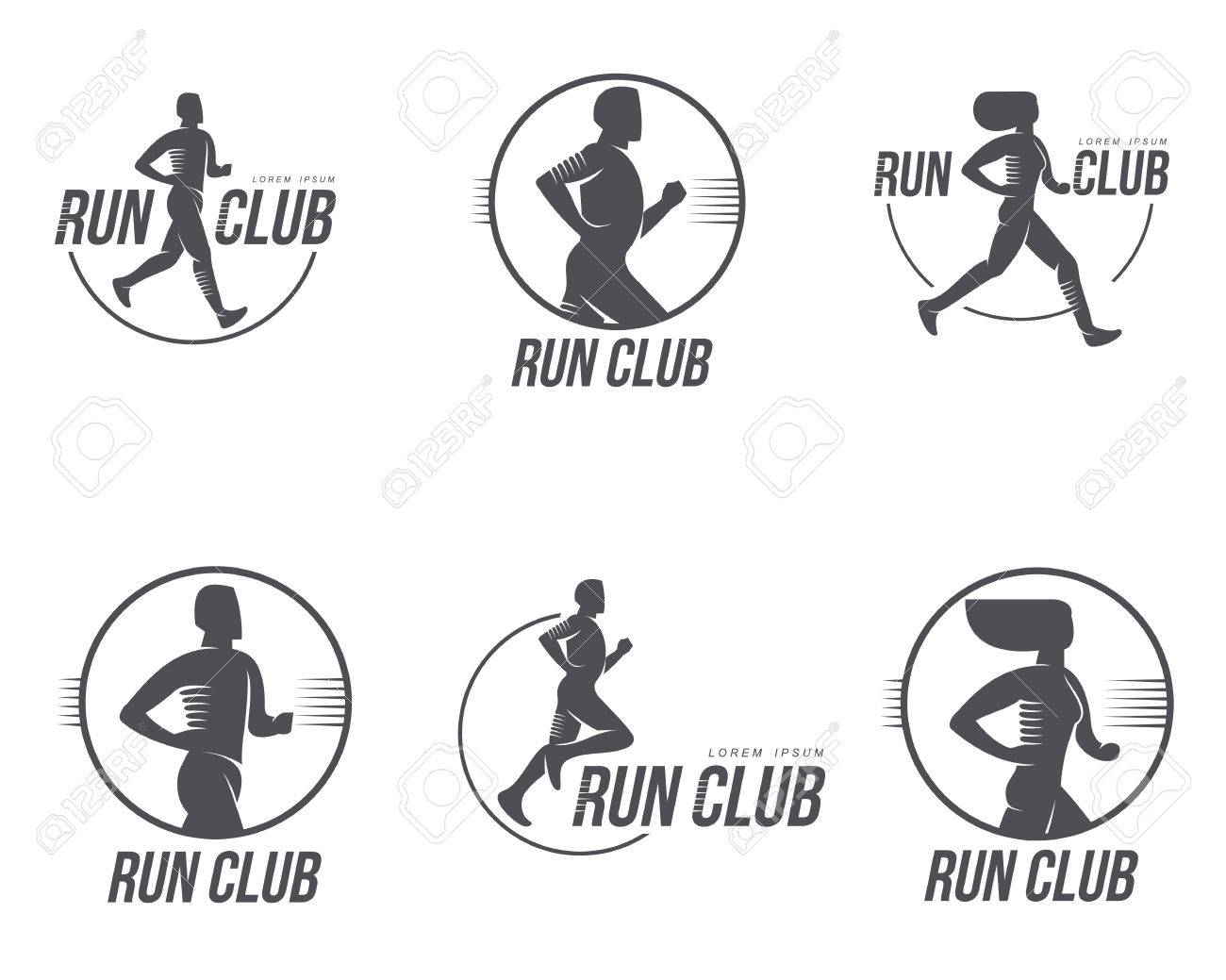 Set Des Laufens Club-Logo-Vorlagen. Vector Schwarz-Weiß-Logo ...