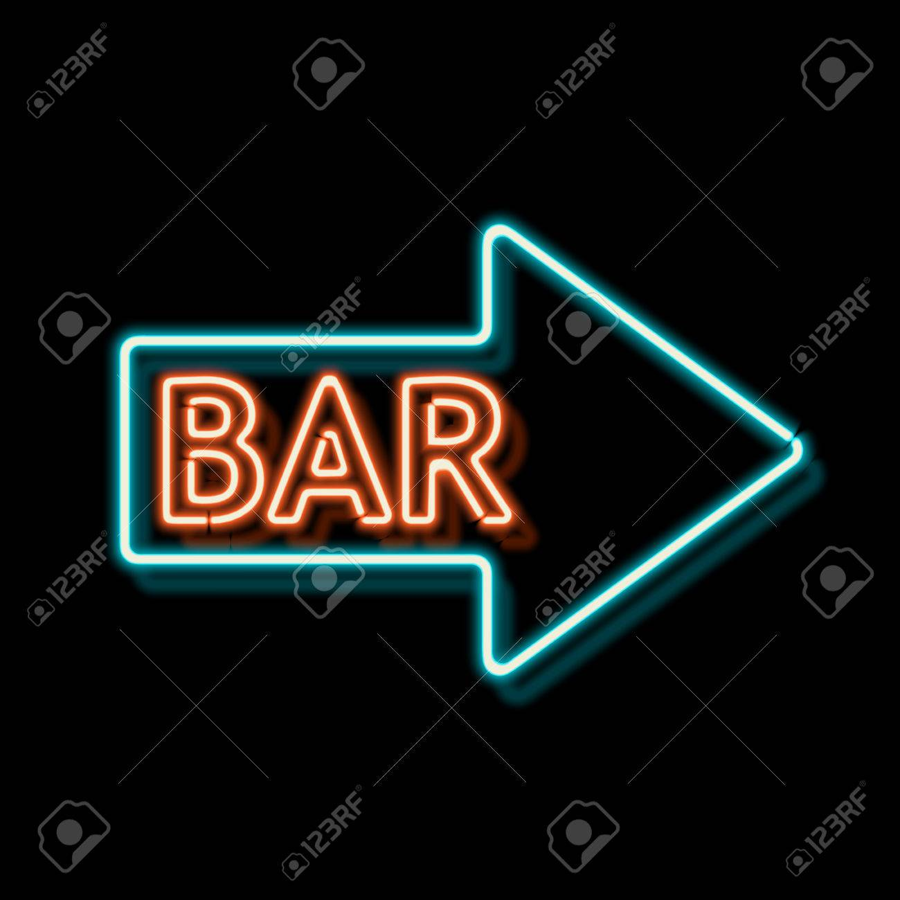 Retro neon sign with the word bar vintage electric arrow symbol retro neon sign with the word bar vintage electric arrow symbol burning a pointer to a black wall in a club bar or cafe design element for your ad buycottarizona Choice Image