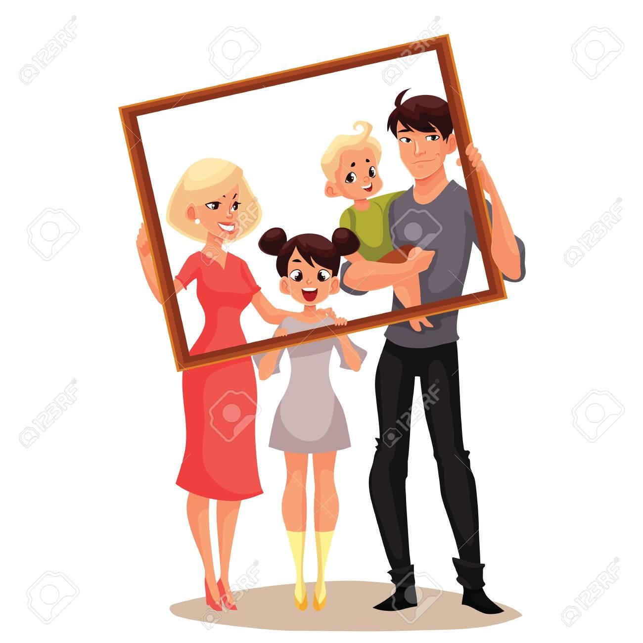 Portrait Der Glücklichen Familie Halterahmen, Illustriert Cartoon ...