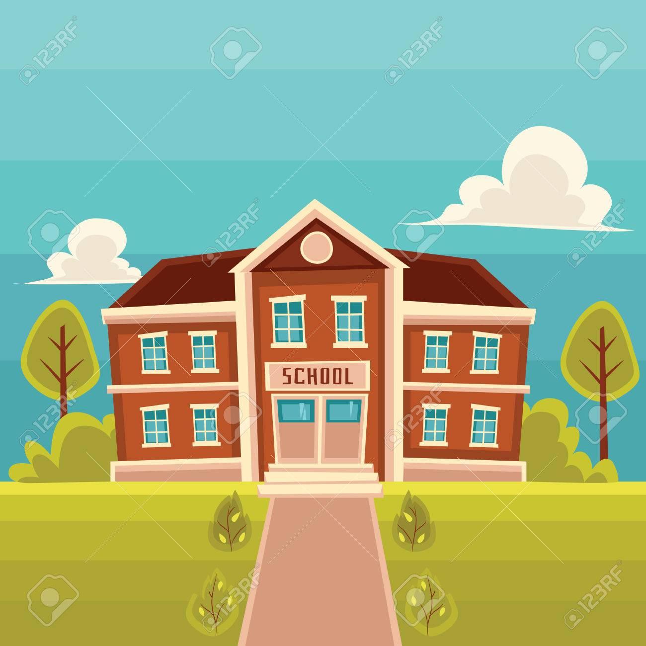 School building cartoon vector illustration on landscape background