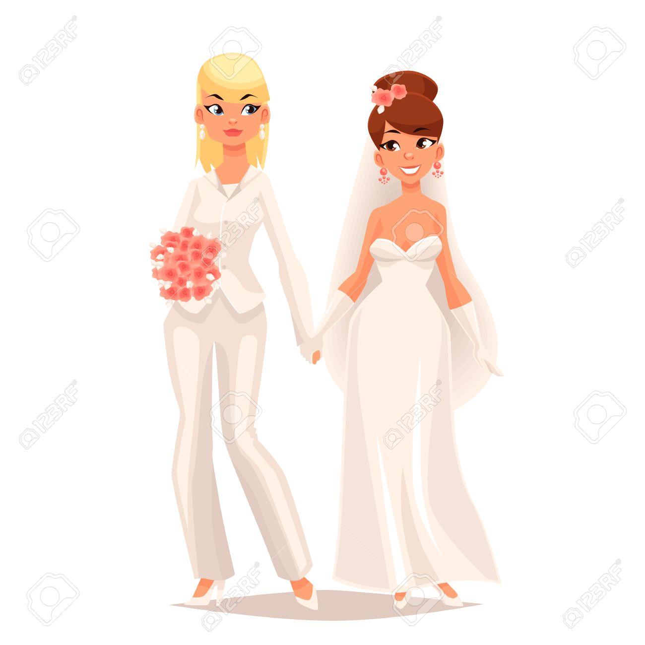 Hochzeit Von Zwei Lesben Madchen Cartoon Comic Illustration Auf