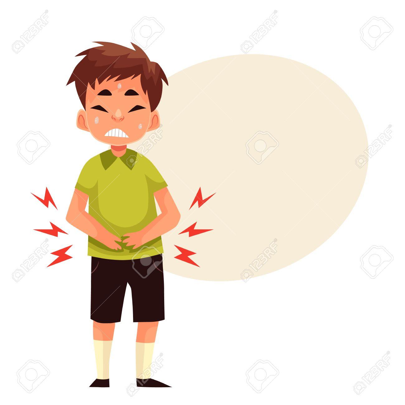 Boy Having Stomach Ache, Carto...