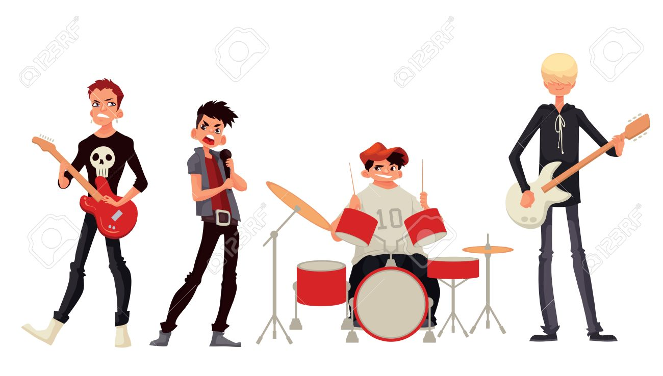 ロック バンド漫画スタイルのイラストが白い背景で隔離ミュージシャン