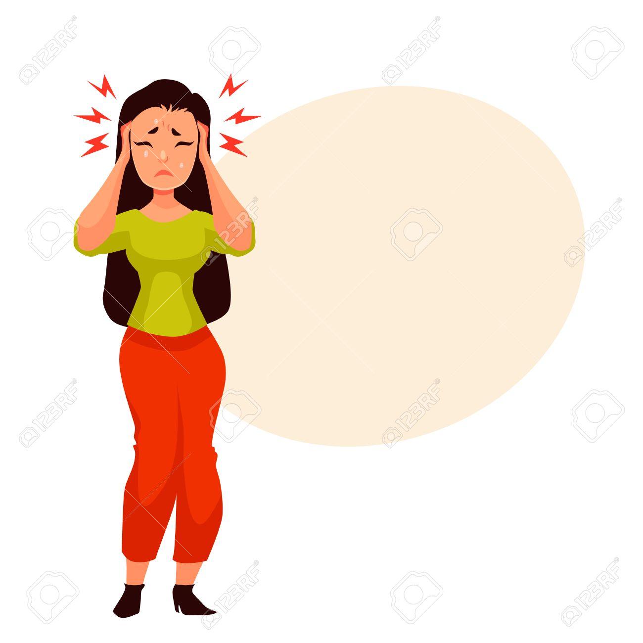 Noir Jeune Femme Aux Cheveux Ayant Un Style Illustration Des Maux De Tête Dessin Animé Isolé Sur Fond Blanc Belle Fille Ayant La Migraine Sensation