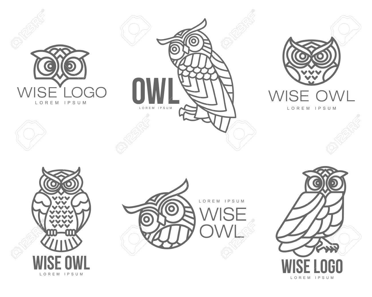 Set Aus Schwarzen Und Weißen Eule Logo-Vorlagen. Illustration ...
