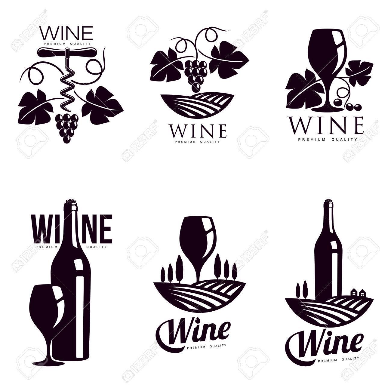 Set Elegante Wein-Logo-Vorlagen, Abbildung Auf Weißem Hintergrund ...