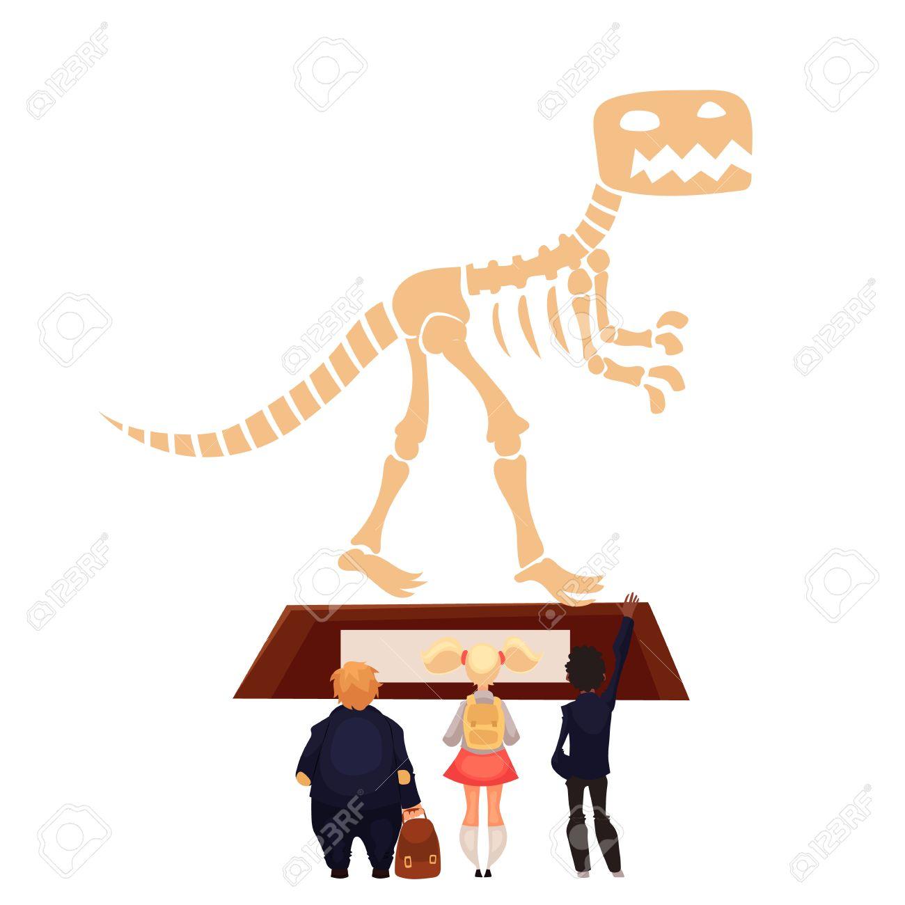 Los Niños En El Museo Mirando Esqueleto De Dinosaurio, Estilo De ...