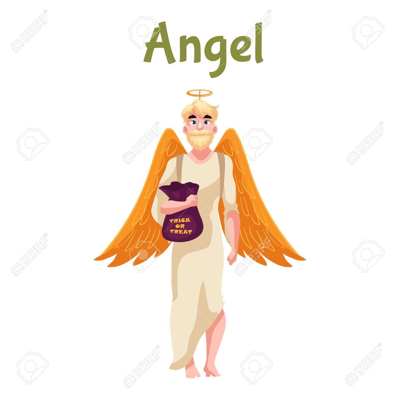白い背景の上に翼とニンバス漫画スタイルのベクトル図とハロウィーンの