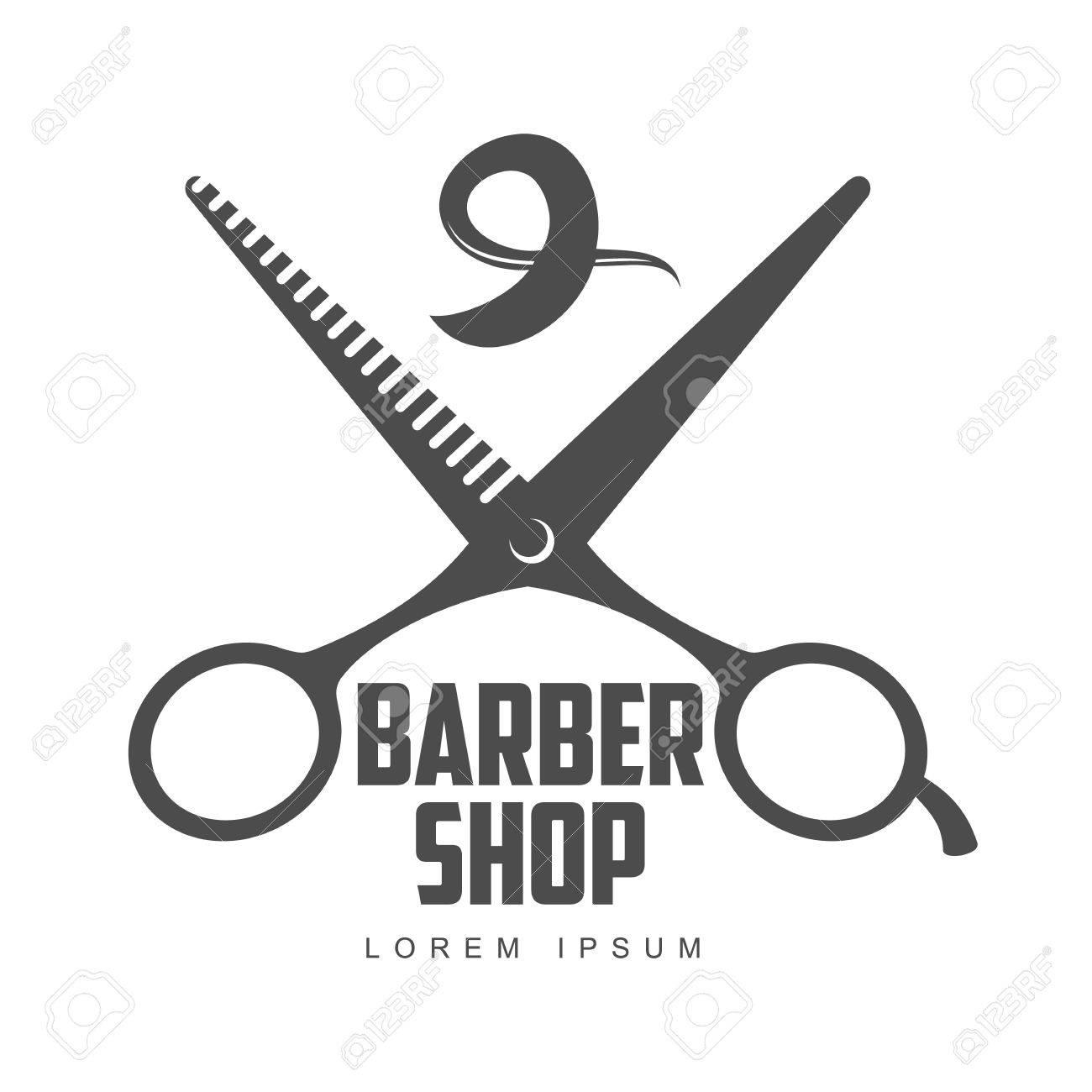 Vintage Barber Shop Logo Label Badge And Design Element Illustration Isolated On White