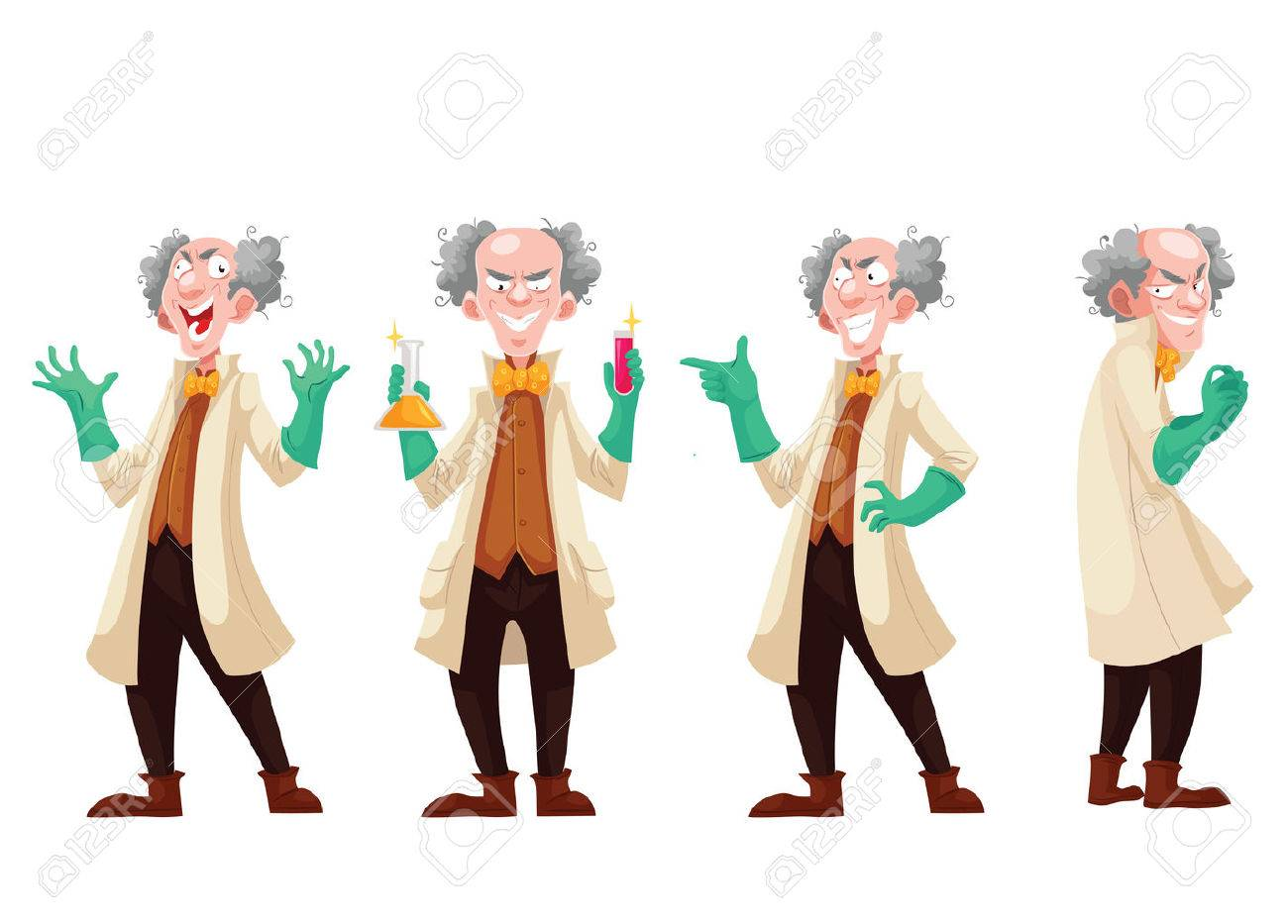 Mad professor in lab coat and green rubber gloves, cartoon style vector illustration isolated on white background. Funny laughing white-haired scientist in four different postures - 63575250