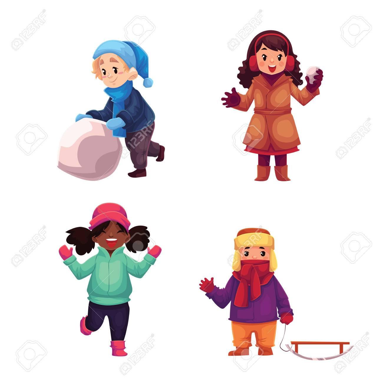 9ea5c4458527 Conjunto de niños disfrutando de invierno, ilustración vectorial de dibujos  animados aislado en el fondo blanco. Colección de las niñas y los niños ...