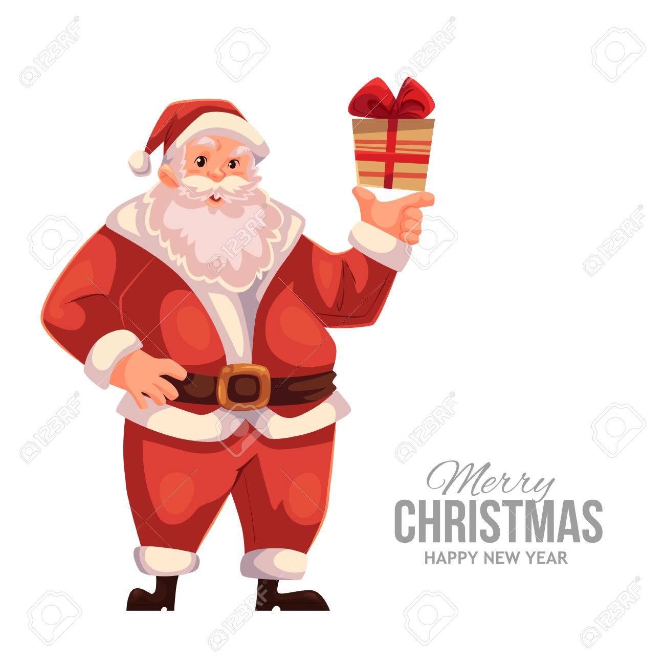 Cartoon Style Santa Claus Holding A Small Gift Box Christmas