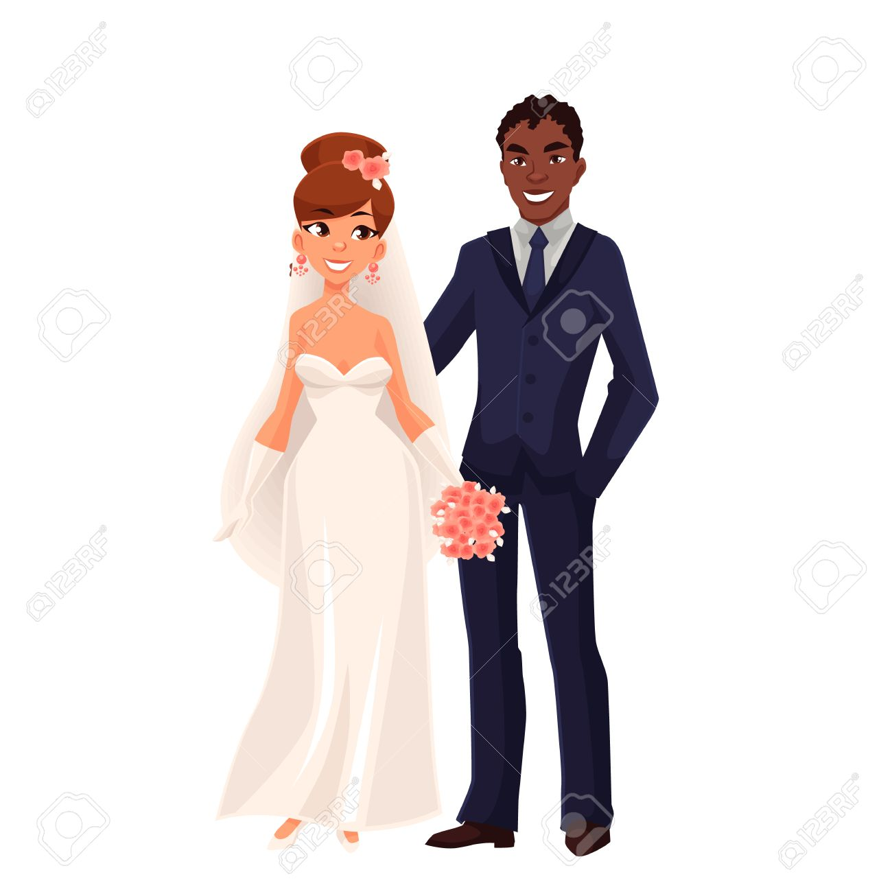 Caucasian bride and African groom, just married couple, cartoon vector illustration isolated on white background. White bride and black groom, mixed couple, wedding ceremony - 63578914