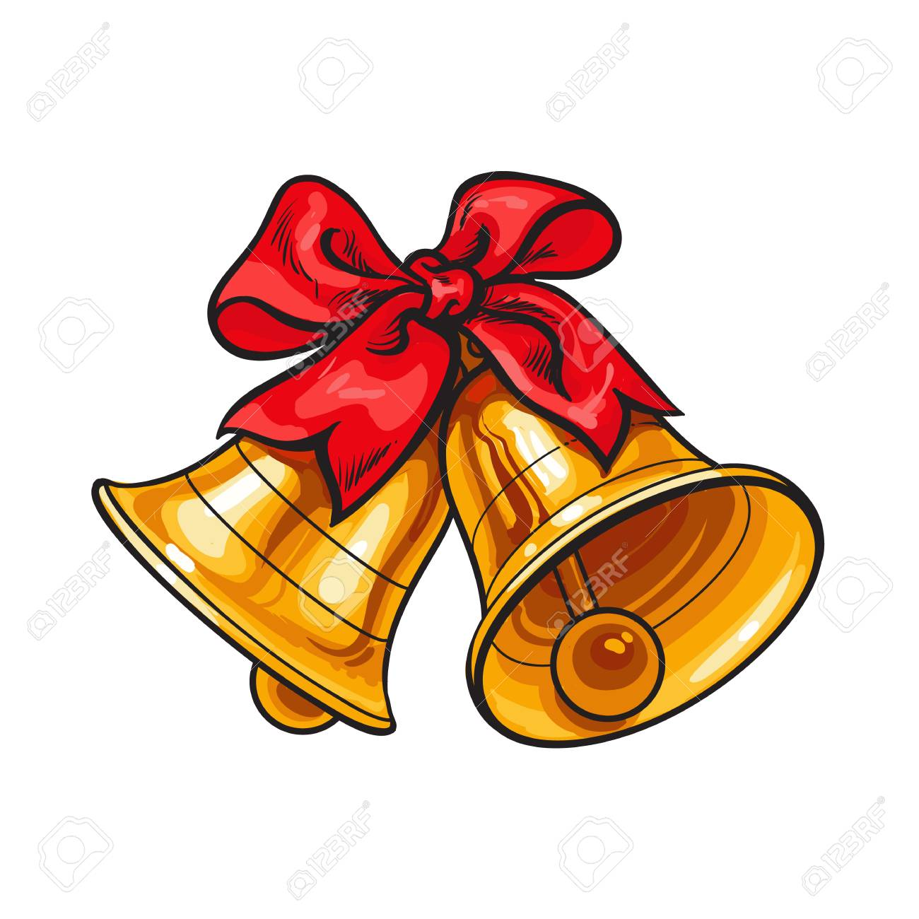 Christmas Bells Images.Golden Christmas Bells With A Red Bow Cartoon Vector Illustration