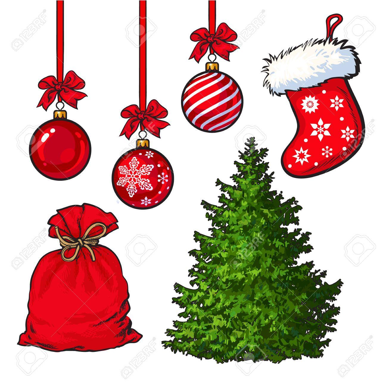 Conjunto Del Arbol De Navidad Decoracion De Bolas De Color Rojo