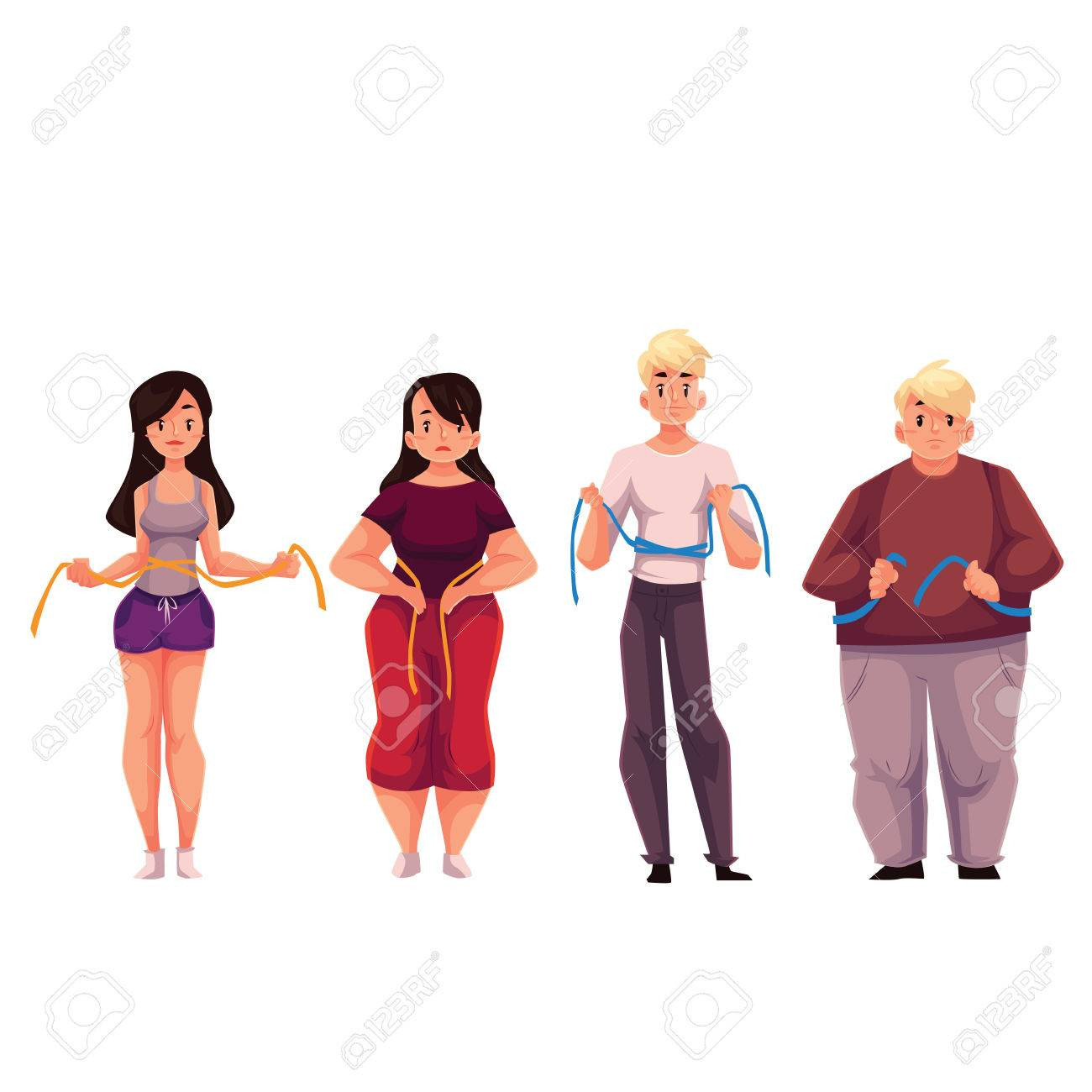 Fit And Fat Men And Women Measuring Themselves With A Tape Cartoon