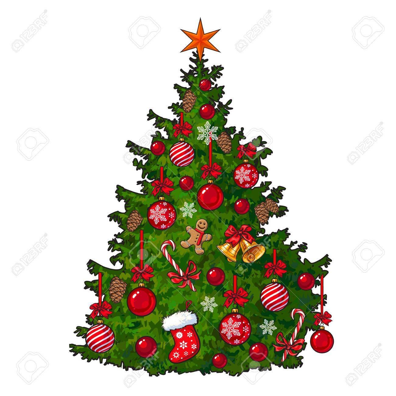 Muy Bien Decorado árbol De Navidad Ilustración Vectorial De Dibujos Animados Aislado En El Fondo Blanco árbol De Navidad Colorido Decorado Con