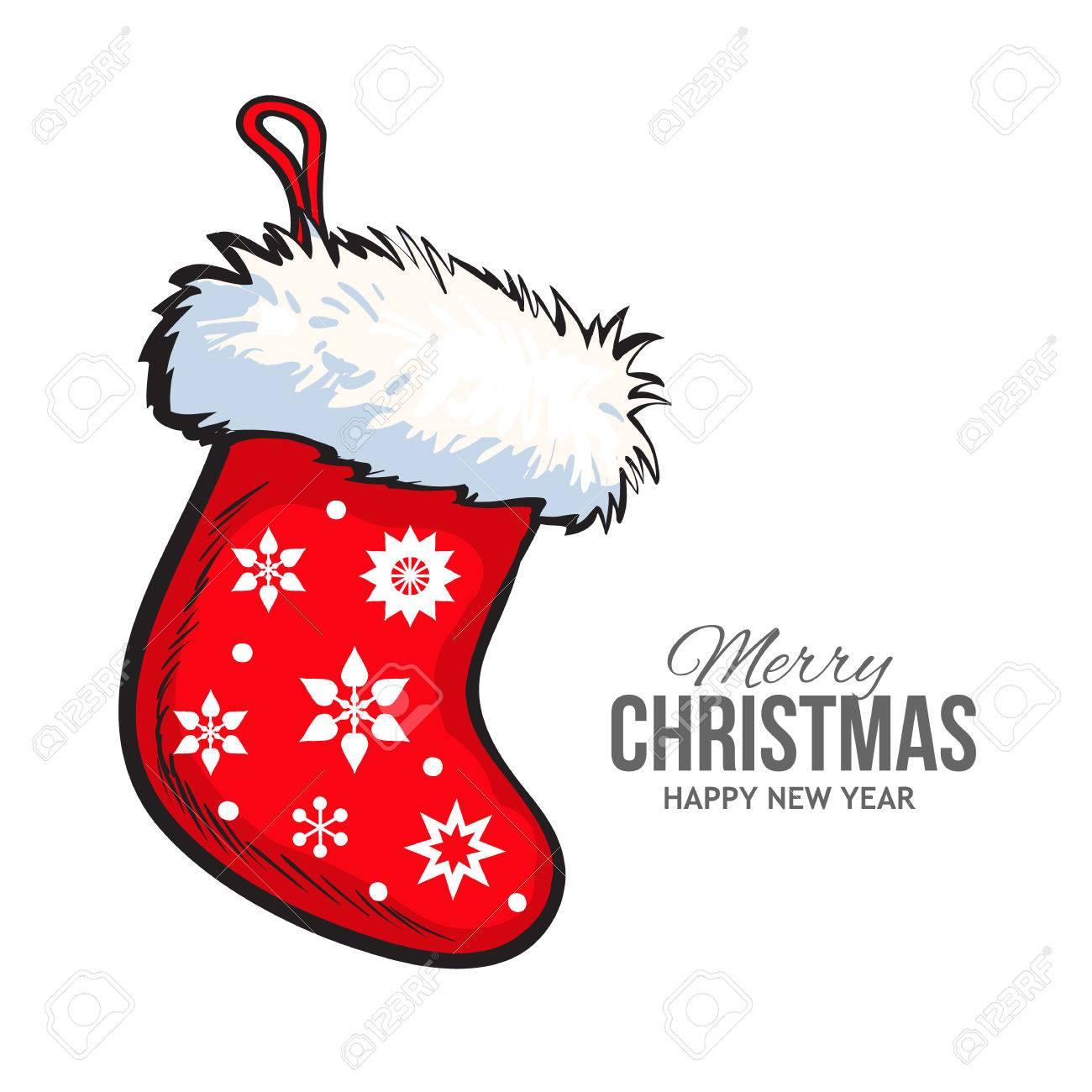 Sketch-Stil Weihnachten Stiefel Mit Fell Und Ornamenten, Vektor ...