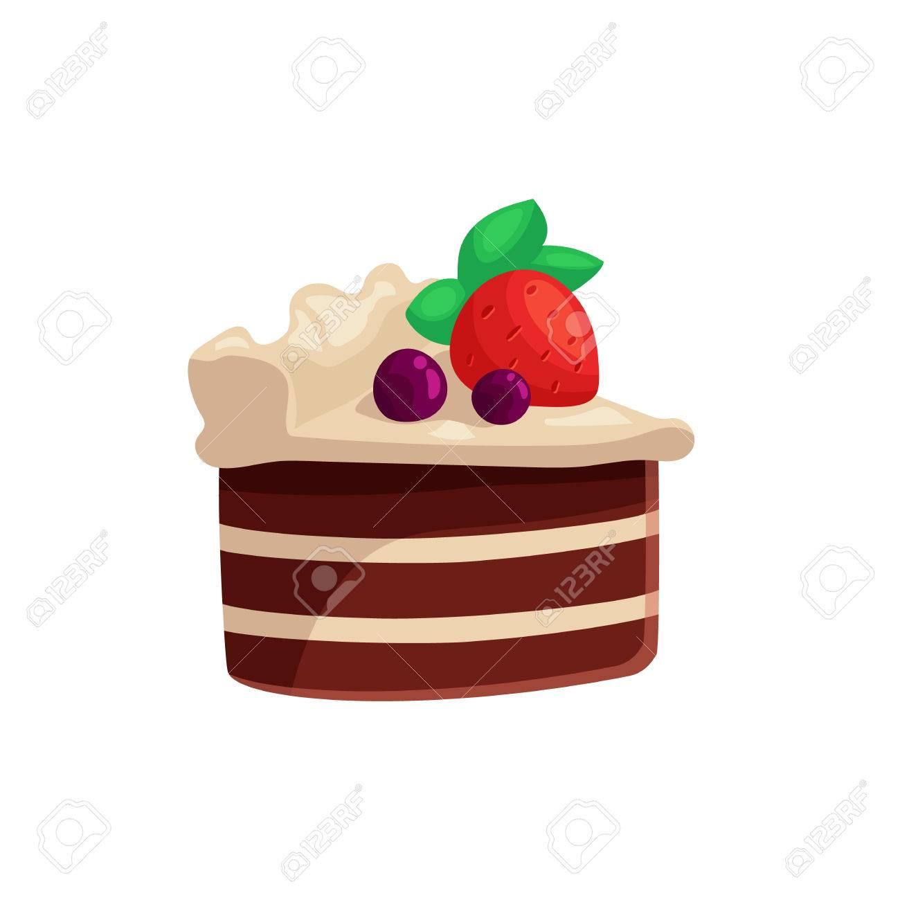 Pastel De Chocolate Con Glaseado Blanco Y Fresa En La Parte Superior ...