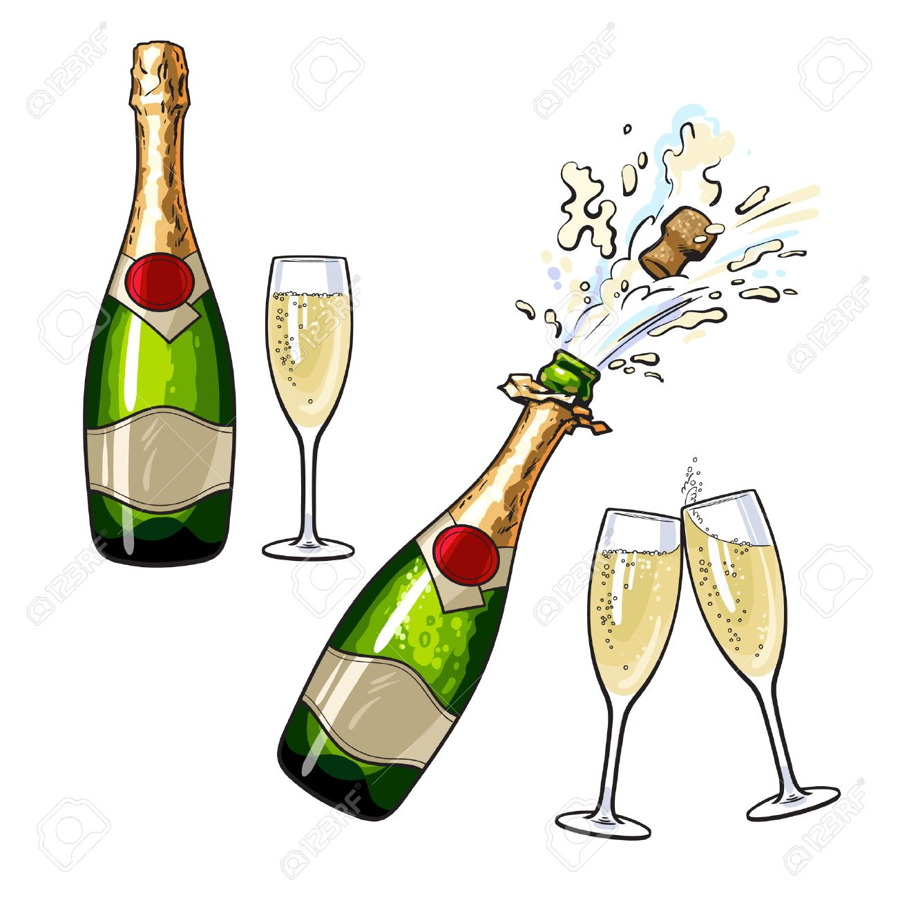 champagne bottle and glasses set of cartoon vector illustrations