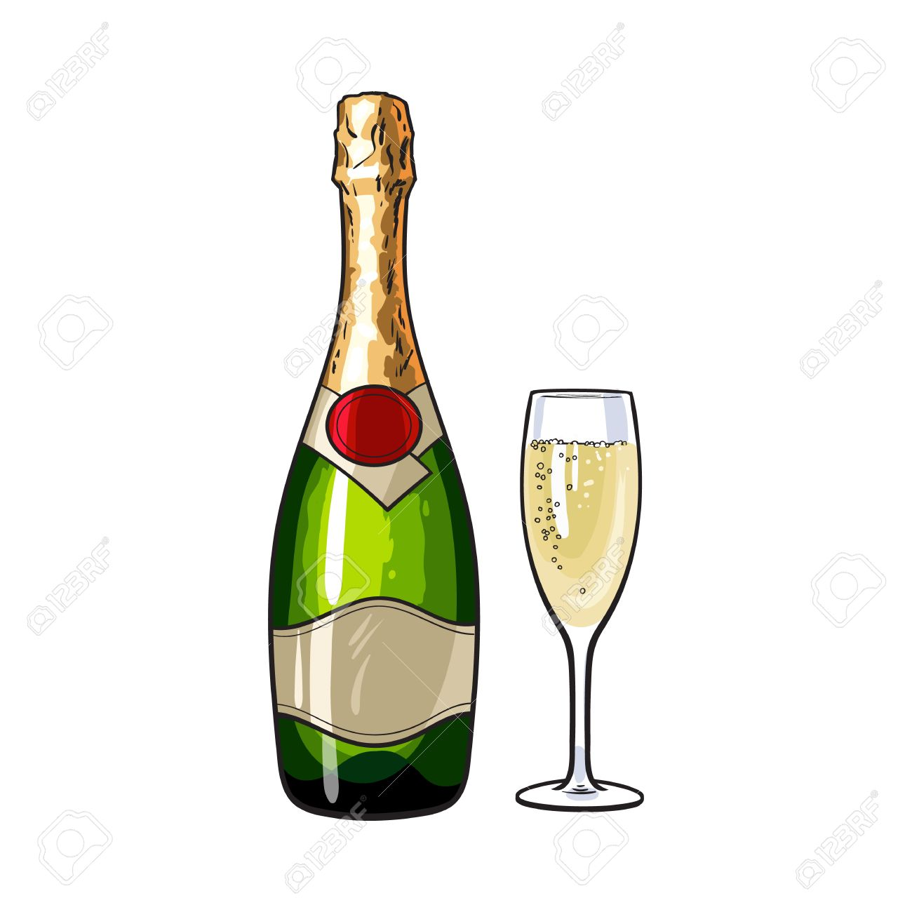 4f735e10489 Champagne Bottle And Glass