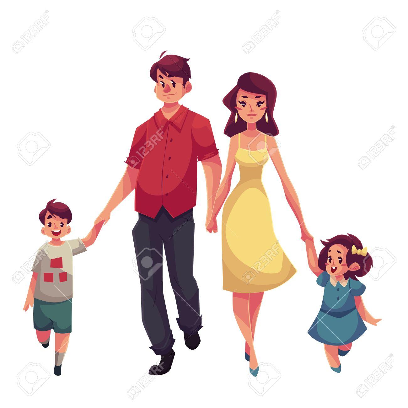 Père Mère Fille Et Fils Vecteur De Dessin Animé Illustrations Isolé Sur Fond Blanc Belle Jeune Wolking Maman Avec Sa Fille Papa Tenant Sa Main De
