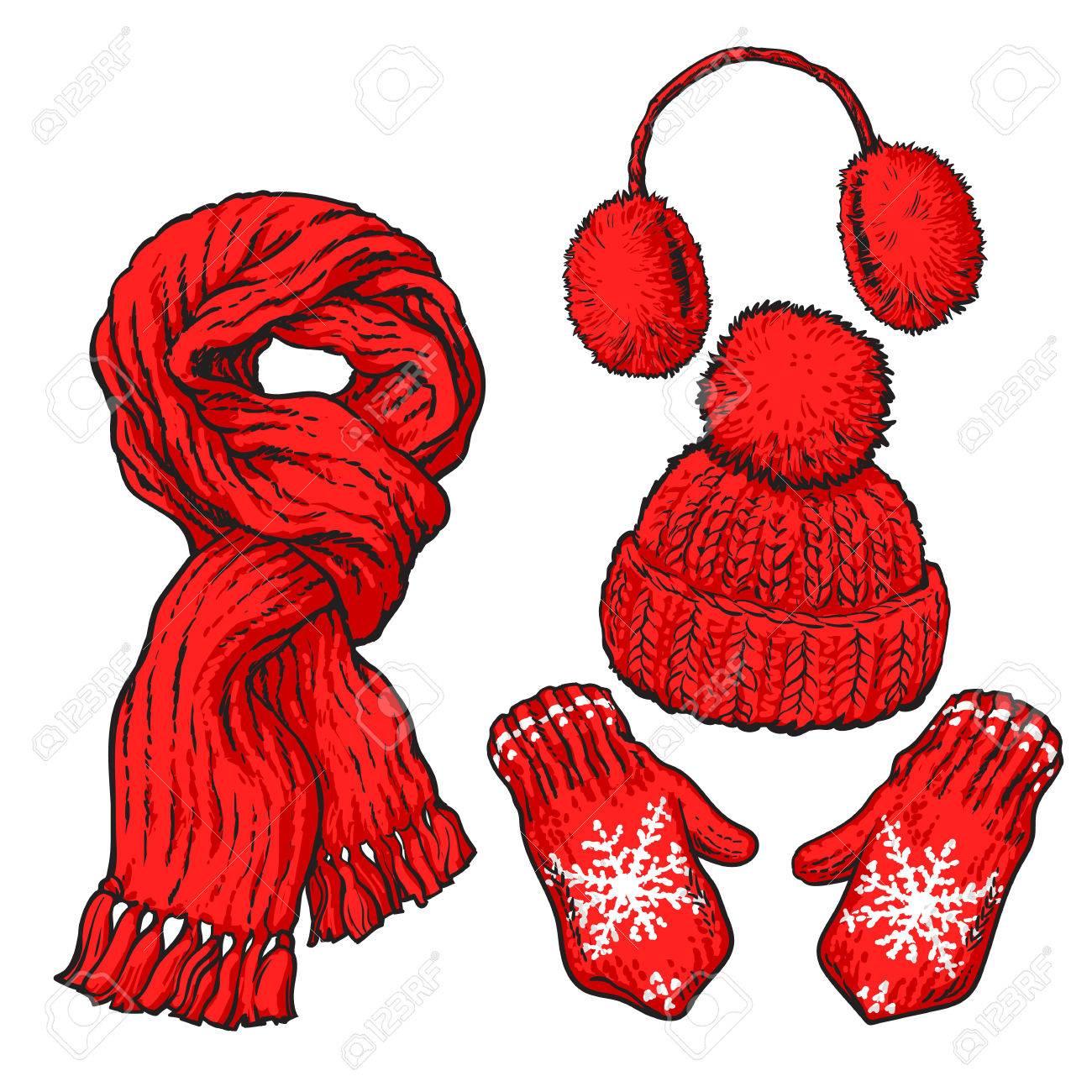 明るい赤のセット結び目マフラー帽子耳あてミトン白い背景で隔離