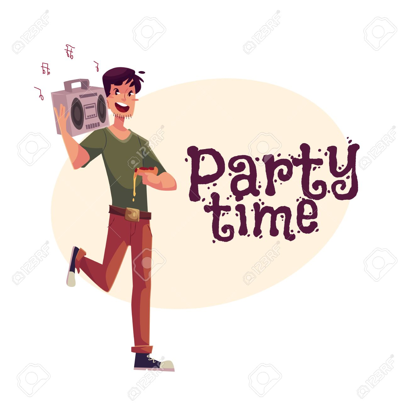 Young Man Dancing At The Party With Tape Recorder On His Shoulder And Pizza In Hand Cartoon Vector Illustration Greeting Card Poster Banner Design For