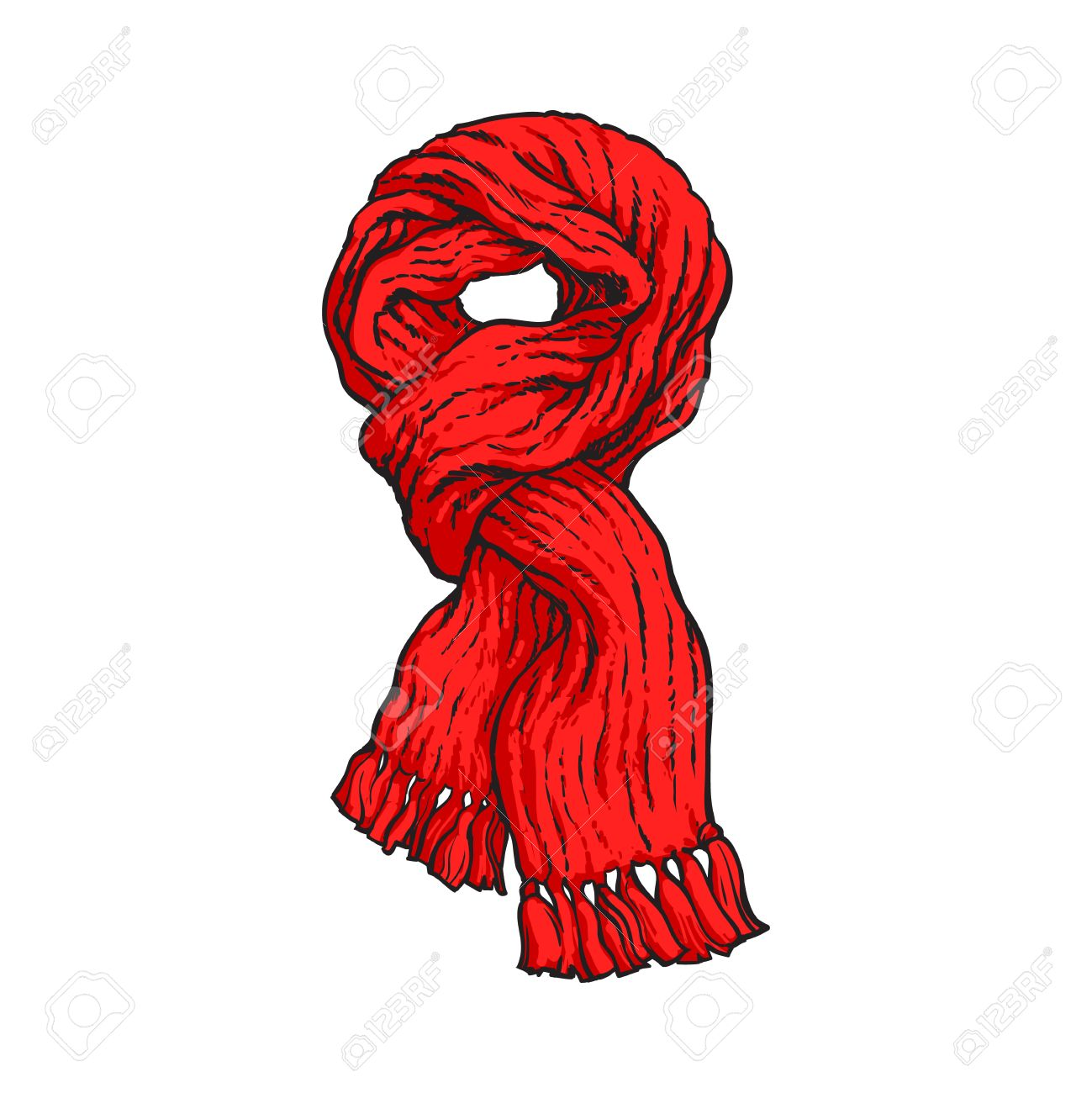Bright Red Slip Knotted Winter Knitted Scarf With Tassels Sketch Royalty Free Cliparts Vectors And Stock Illustration Image 64765594