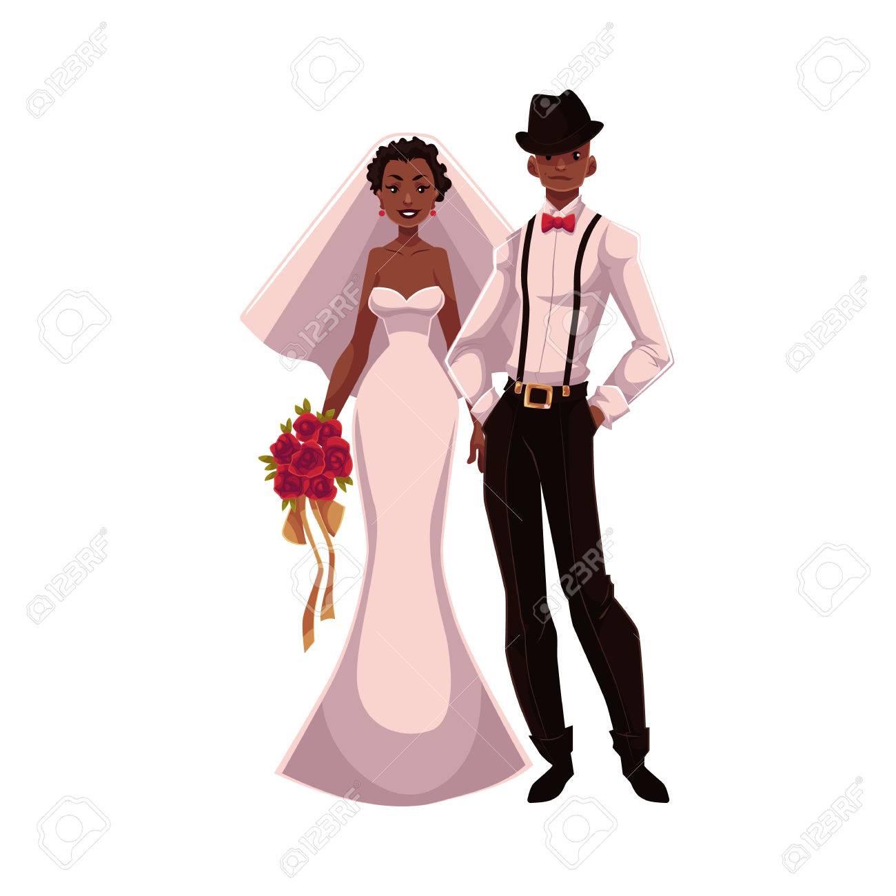 Afro Américaine Vient De Se Marier Couples Jeune Mariée Et Le Marié Dessin Animé Illustration Isolé Sur Fond Blanc Mariée Noire Et Le Marié Dans Les Vêtements à La Mode De Se Marier