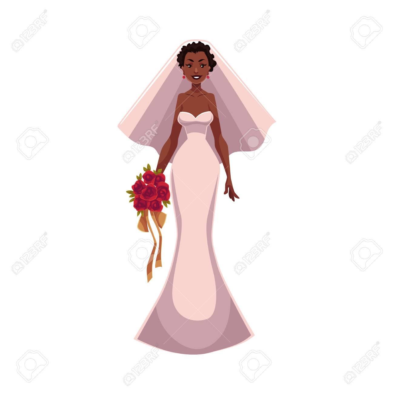 Mariée Afro-américaine, Fiancée, Juste Femme Mariée, Dessin Animé ...