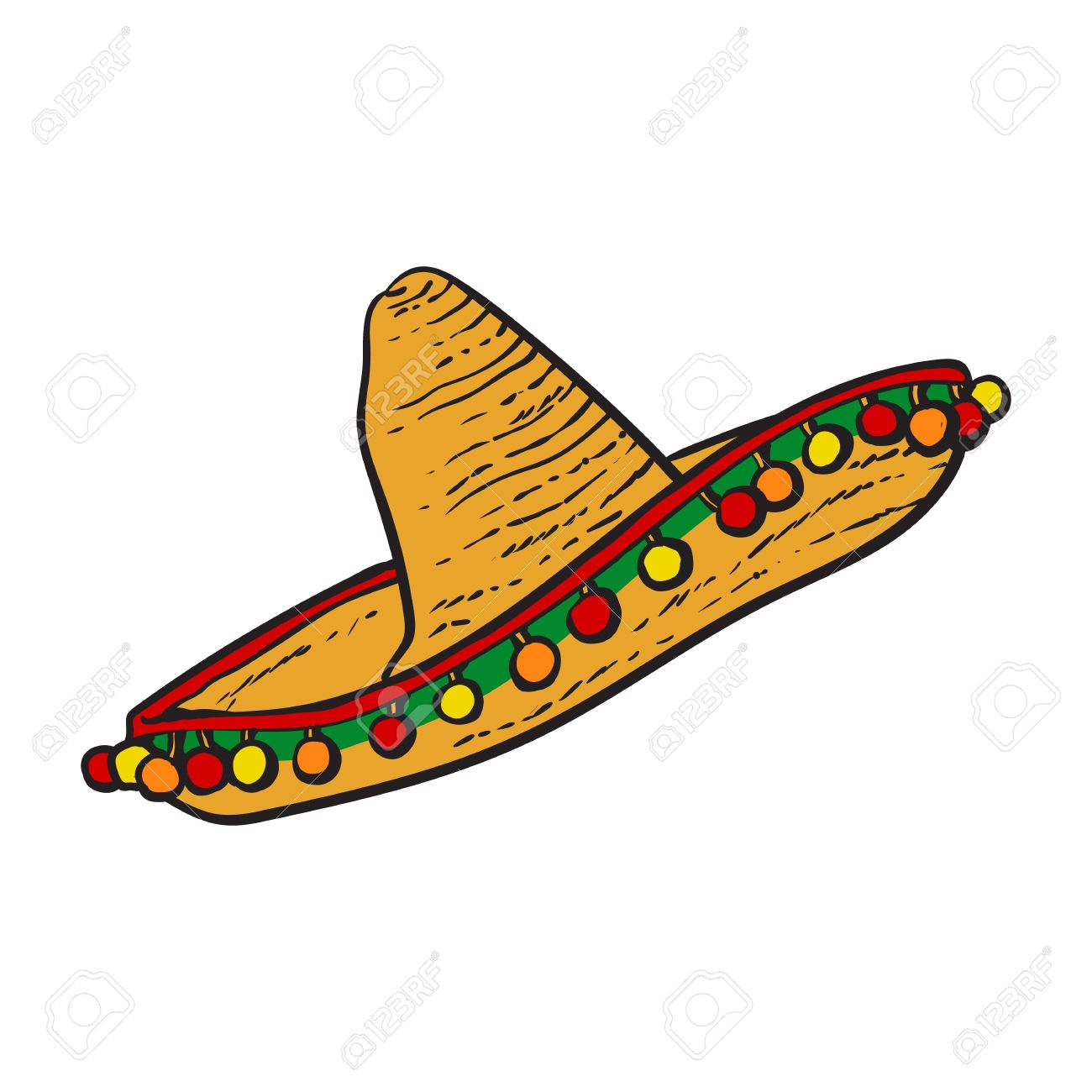 traditional mexican wide brimmed sombrero hat sketch style vector