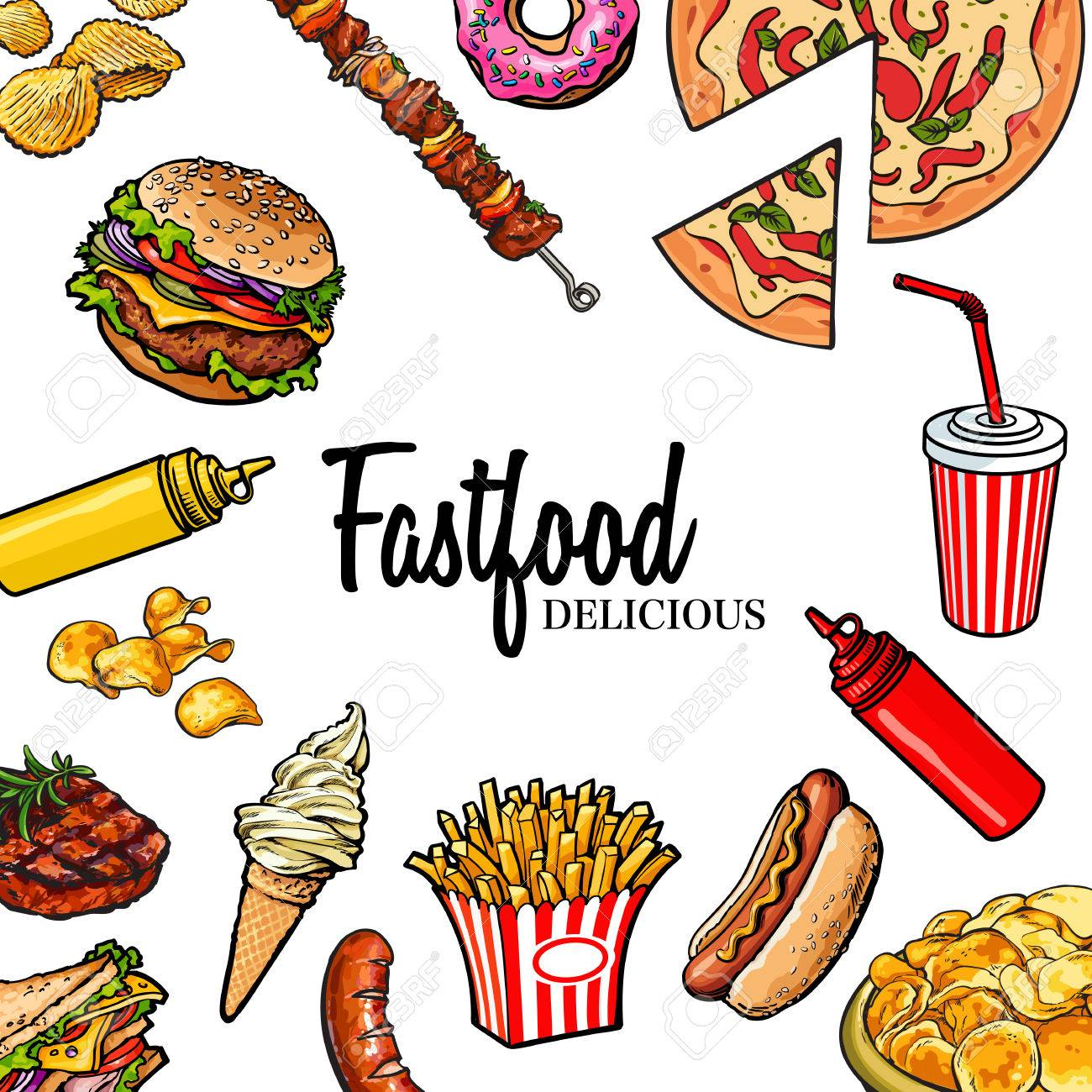 sketch style hand drawn fast food vector frame pizza burger rh 123rf com food vector background food vector background