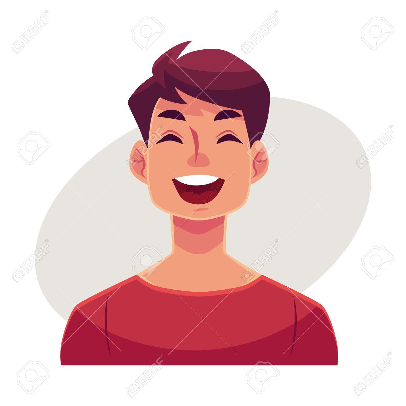 Visage Jeune Homme Rire Expression Du Visage Vecteur Dessin Anime