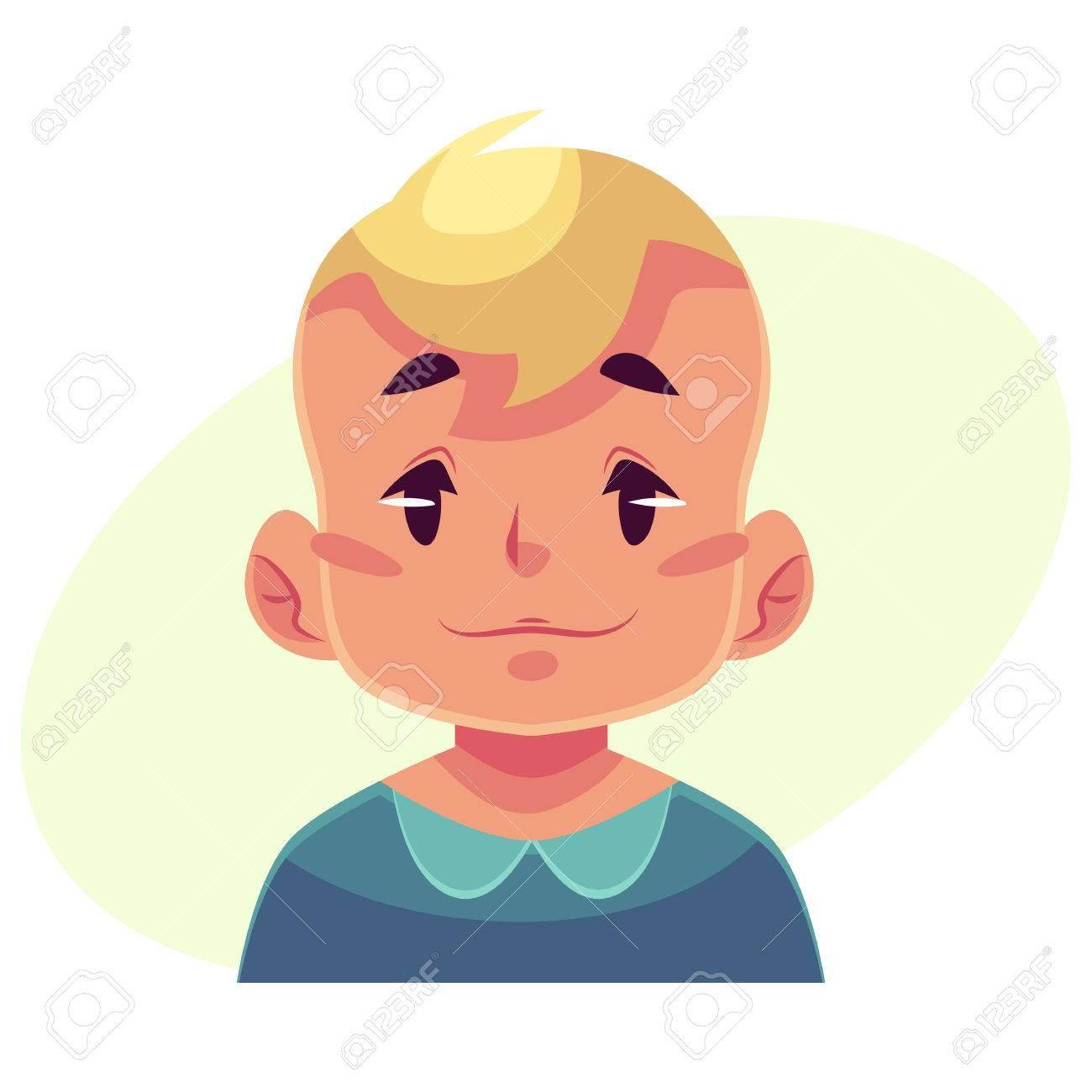 小さな少年の顔、中性表情が黄色の背景上に分離されて漫画ベクトル