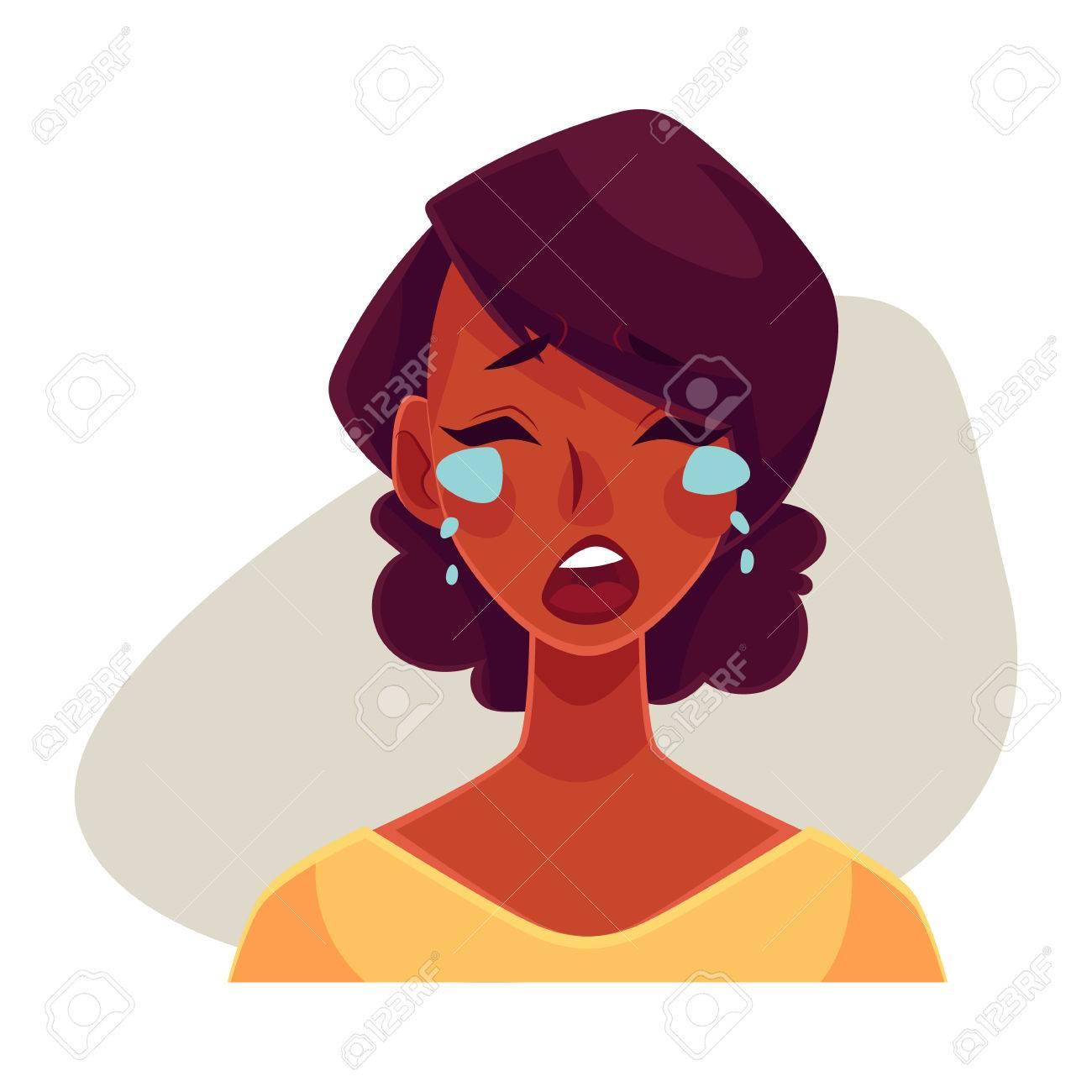 Jolie Fille Africaine Pleurer Expression Du Visage Vecteur De Dessin Animé Illustrations Isolé Sur Fond Gris Femme Noire Pleurer Verser Des