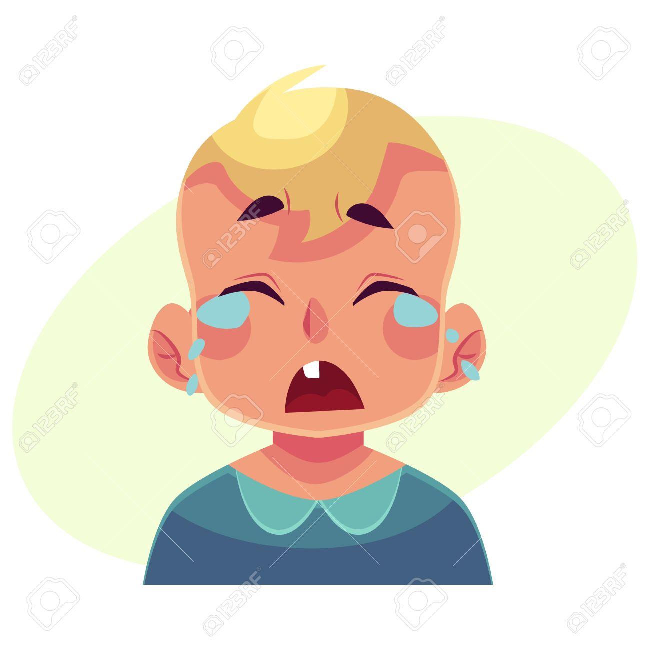 Petit Visage De Garcon Pleurer Expression Du Visage Vecteur Dessin